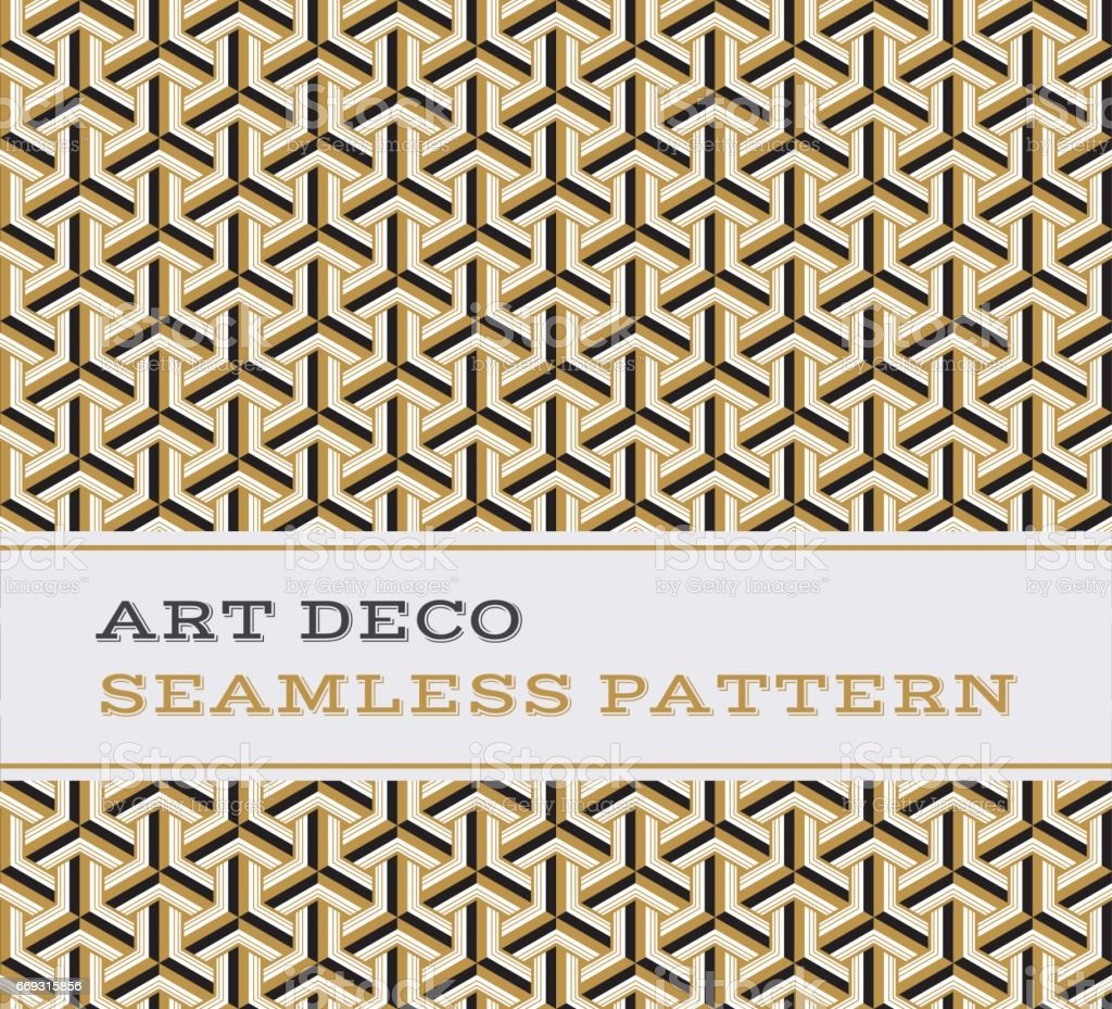Art Deco seamless pattern  black white and gold colours 05 vector art illustration