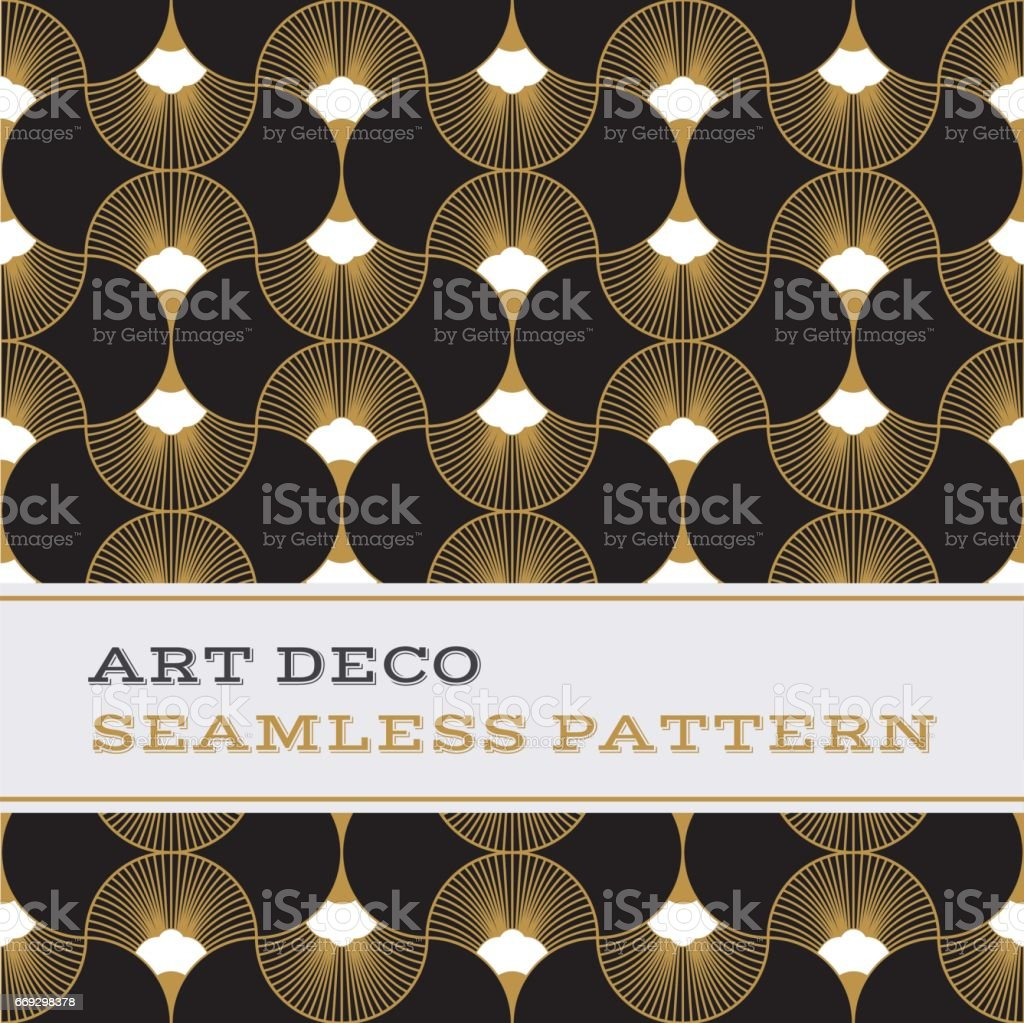 Art Deco seamless pattern  black white and gold colours 06 vector art illustration