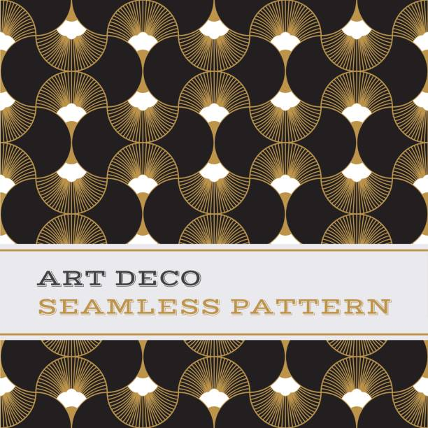 art deco seamless pattern  black white and gold colours 06 - 1920s style stock illustrations, clip art, cartoons, & icons