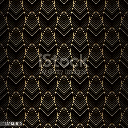 istock Art deco seamless pattern in gold and black colors 1152431510