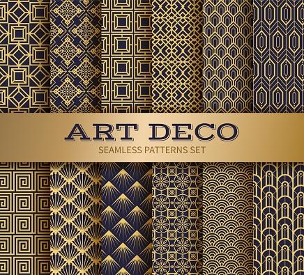Art deco seamless pattern. Luxury geometric nouveau wallpaper, elegant classic retro ornament. Vector golden abstract pattern