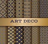 istock Art deco seamless pattern. Luxury geometric nouveau wallpaper, elegant classic retro ornament. Vector golden abstract pattern 1144260109