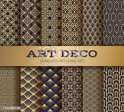 istock Art deco seamless pattern. Luxury geometric nouveau wallpaper, elegant classic retro ornament. Vector golden abstract pattern 1144260109