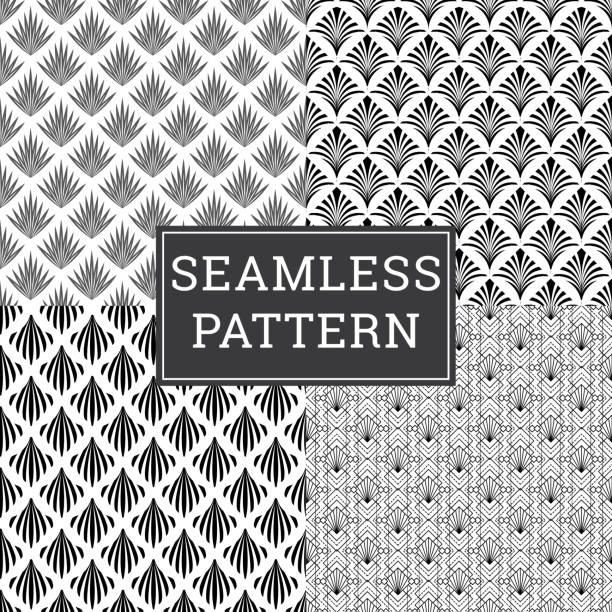 Art Deco Seamless Pattern Texture Decorative Background vector art illustration