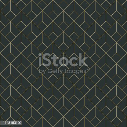 Repeating pattern design with art deco motif in anthracite and vintage gold