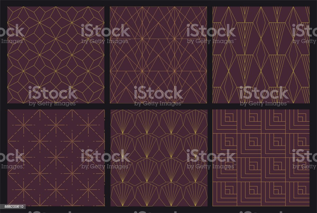 6 Art Deco seamless pattern vector art illustration