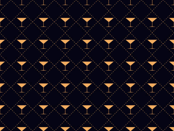 art deco seamless pattern with a glass of martini. alcohol cocktail style of the 1920s - 1930s. for invitations, leaflets and greeting cards. vector illustration - alcohol drink patterns stock illustrations