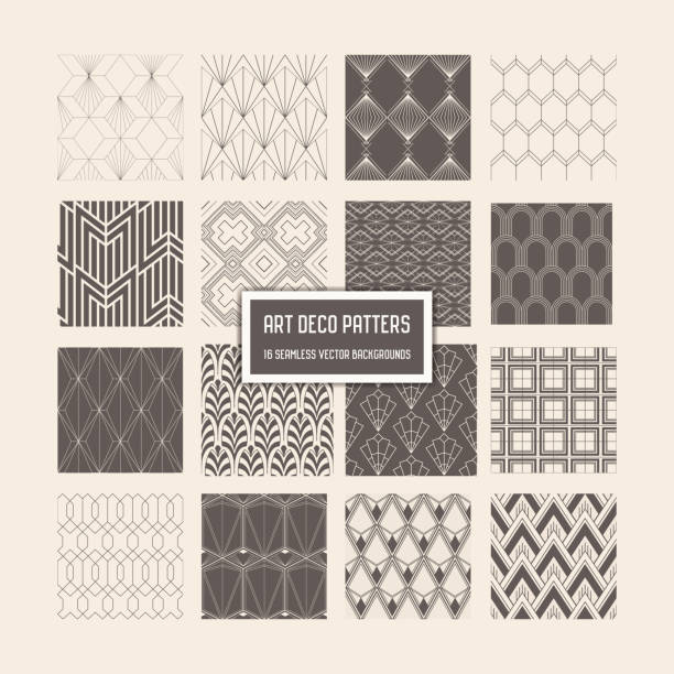 art deco seamless patterns, 16 geometrical backgrounds for design, cover, textile, decoration in vector - бесшовный узор stock illustrations