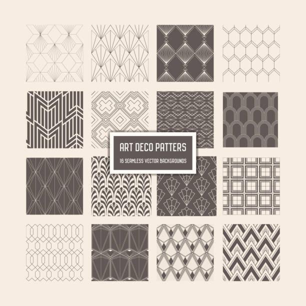 아트 데코 완벽 한 패턴, 디자인, 커버, 직물, 벡터에 장식 16 기하학적 배경 - 반복 stock illustrations