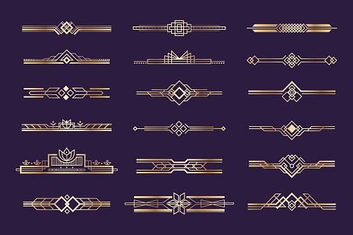 Art deco set. Vintage 1920s golden ornament, nouveau style headers and dividers, retro border element. Vector golden art deco template