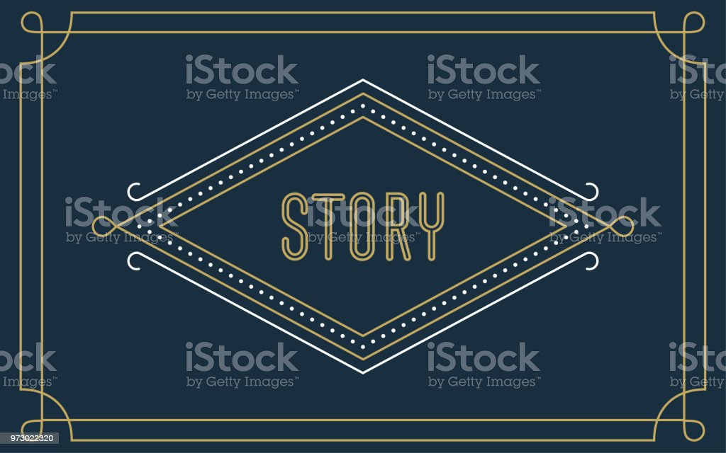 Art Deco Story Frame on the Blue Background