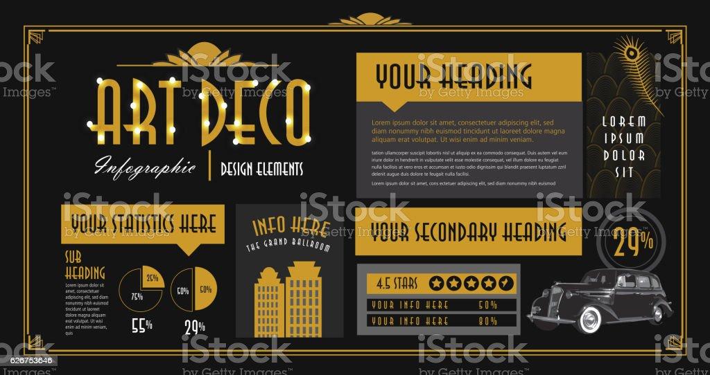 art deco style infographic design elements template アイコンの