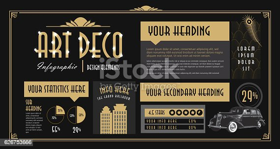 Vector illustration Art Deco style Infographic design elements template. Brass lines and black contrast.