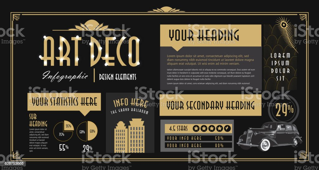Art Deco style Infographic design elements template - ilustración de arte vectorial