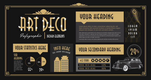 art deco style infographic design elements template - art deco stock illustrations, clip art, cartoons, & icons