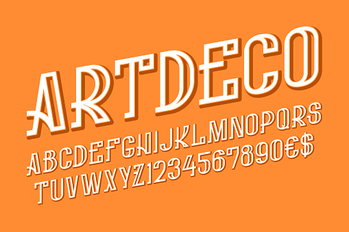 Art deco style letters, numbers and currency signs. Isolated English alphabet.