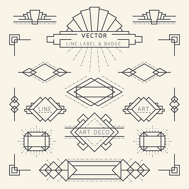 art deco style line and geometric labels and badges monochrome - art deco stock illustrations, clip art, cartoons, & icons
