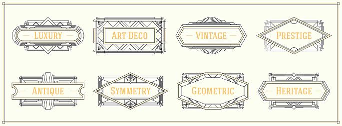 Art deco style line border and frames, decorative geometric ornament set label vintage vector design graphic elements