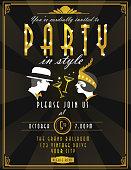 Art Deco style vintage invitation design template
