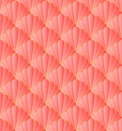 Art Deco Style Pattern Repeat With Seashells Motifs In Coral Pink And Golden Metallic Outlines. Coral Pink Floral Seamless Pattern For Wallpaper, Textiles, Fabric, Home Décor.