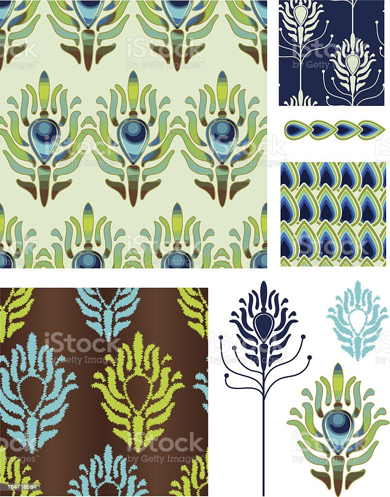 Art Deco Style Peacock Vector Seamless Patterns and Icons. royalty-free art deco style peacock vector seamless patterns and icons stock vector art & more images of 1930-1939