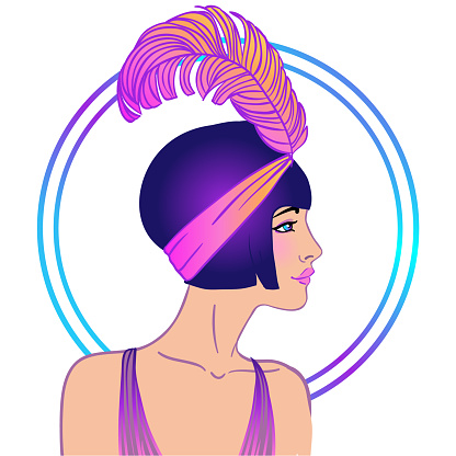 Art deco style pretty lady. Vector illustration in 1920's style.