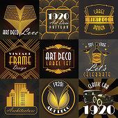 Art Deco style label set