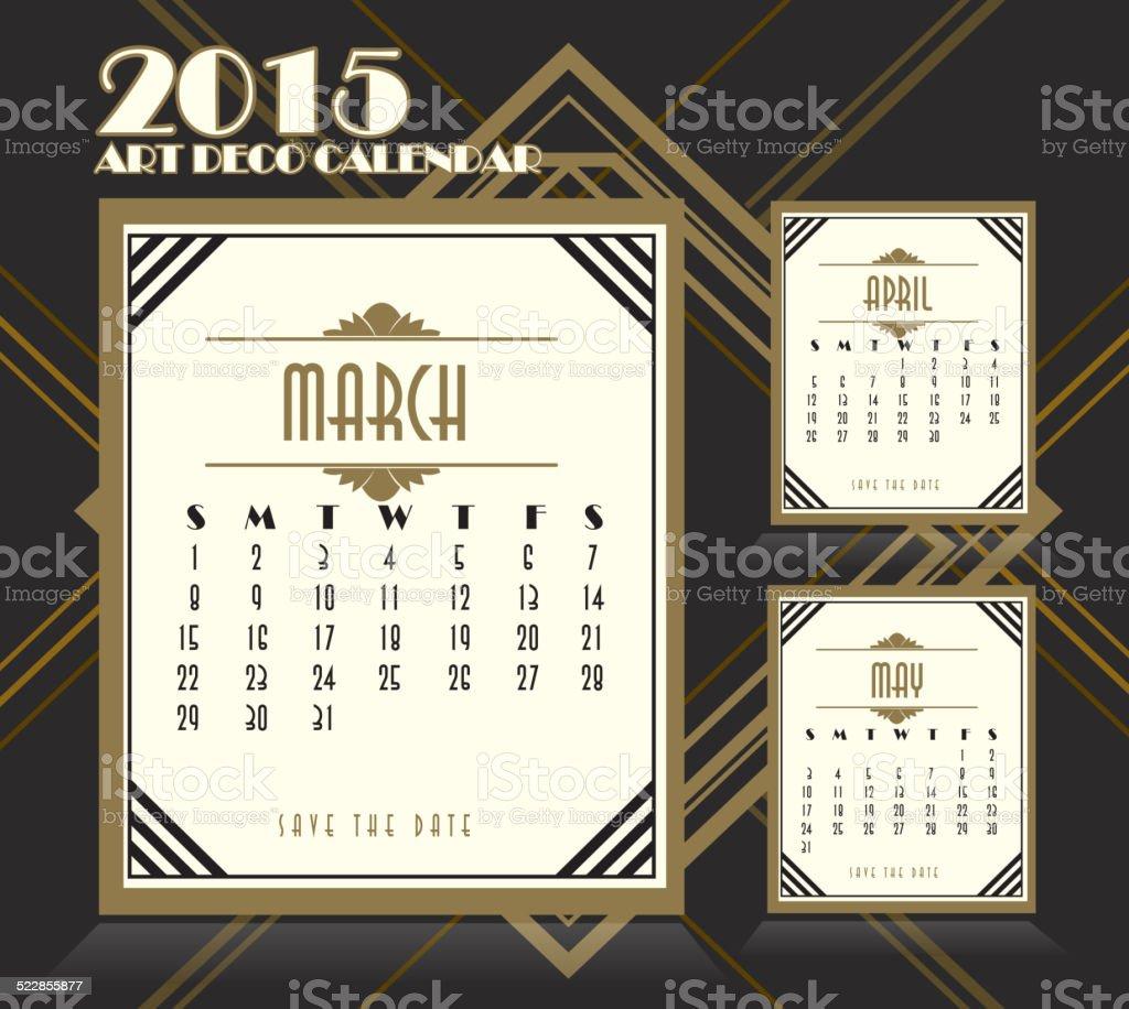 アールデコ様式のデザインのヴィンテージ 2015 年 3 月のカレンダー april.は、 ベクターアートイラスト