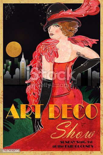 Vector illustration of an Art Deco style vintage advertisement poster. Features  stylized woman in red dress, gloves and hat, cityscape with full moon and sample text design. Very textured and loose coloring. 1930s and 1940s era. Fashion, girl, pretty, beautiful, hairstyle, hat with feather. Long gloves, make up, thirties, female, nostalgia, glamour, retro.
