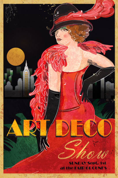 art-déco-stil mit vintage-werbung plakat-vorlage - städtische mode stock-grafiken, -clipart, -cartoons und -symbole
