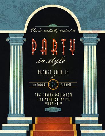 Art Deco style vintage invitation design template blue pillars