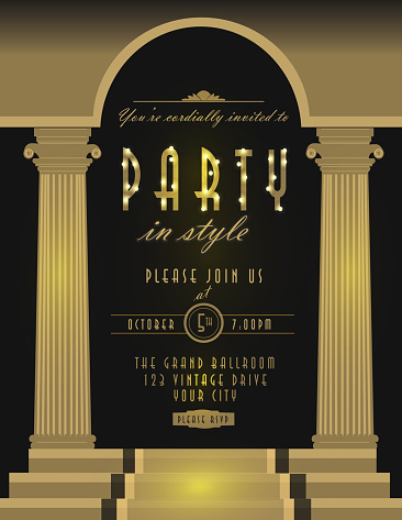 Art Deco style vintage invitation design template brown pillars
