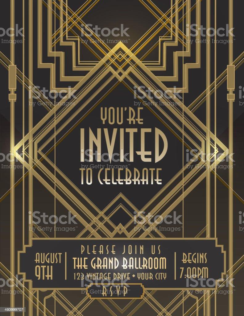 Art Deco Style Vintage Invitation Design Template Stock Vector Art ...