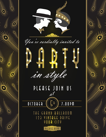 Art Deco style vintage invitation design template with couple