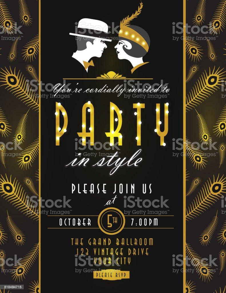 Art deco style vintage party invitation design template for Deco style retro