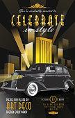 Art Deco style cityscape and car vintage invitation design template