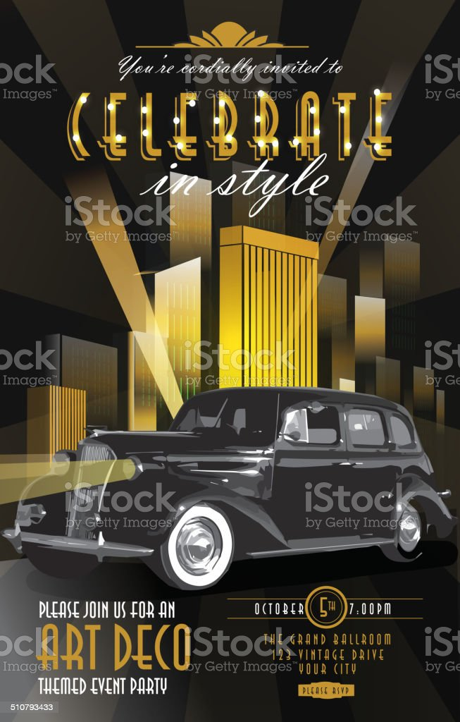 Art Deco style vintage poster invitation party classic car template vector art illustration