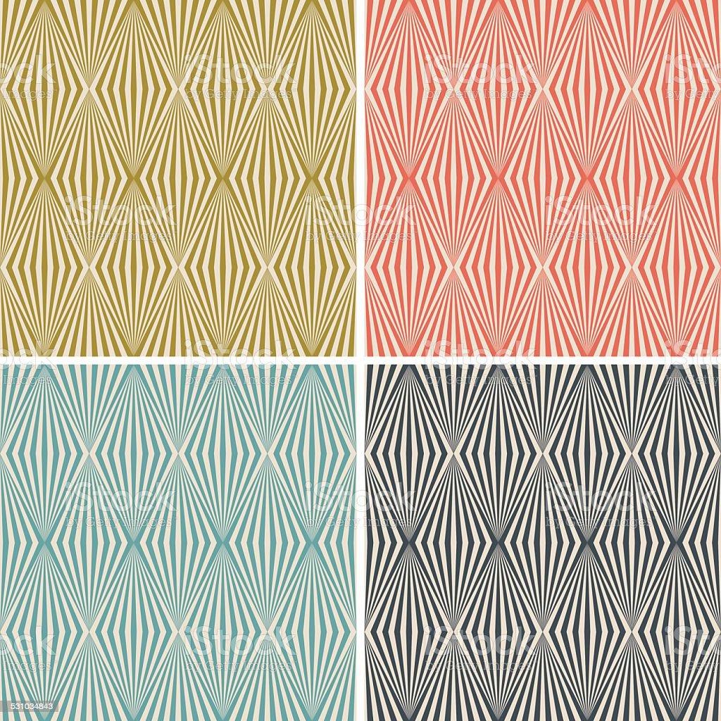 art deco stylised diamond wallpaper pattern set vector art illustration