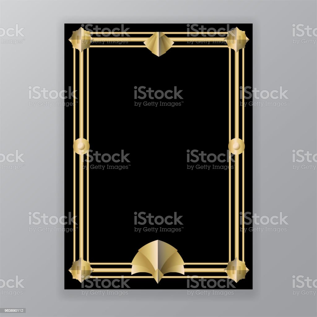 Art Deco template golden-black, A 4 page, menu, card - Royalty-free 1920 stock vector