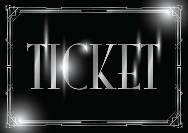 ilustrações, clipart, desenhos animados e ícones de fundo de bilhete art deco - eventos de gala