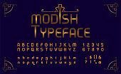 istock Art Deco typeface in golden color 1296129168
