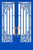 Vector Illustration of Wrought Iron Door