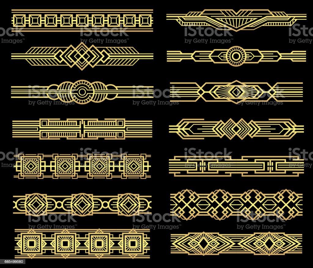 Art deco vector line borders set in 1920s graphic style
