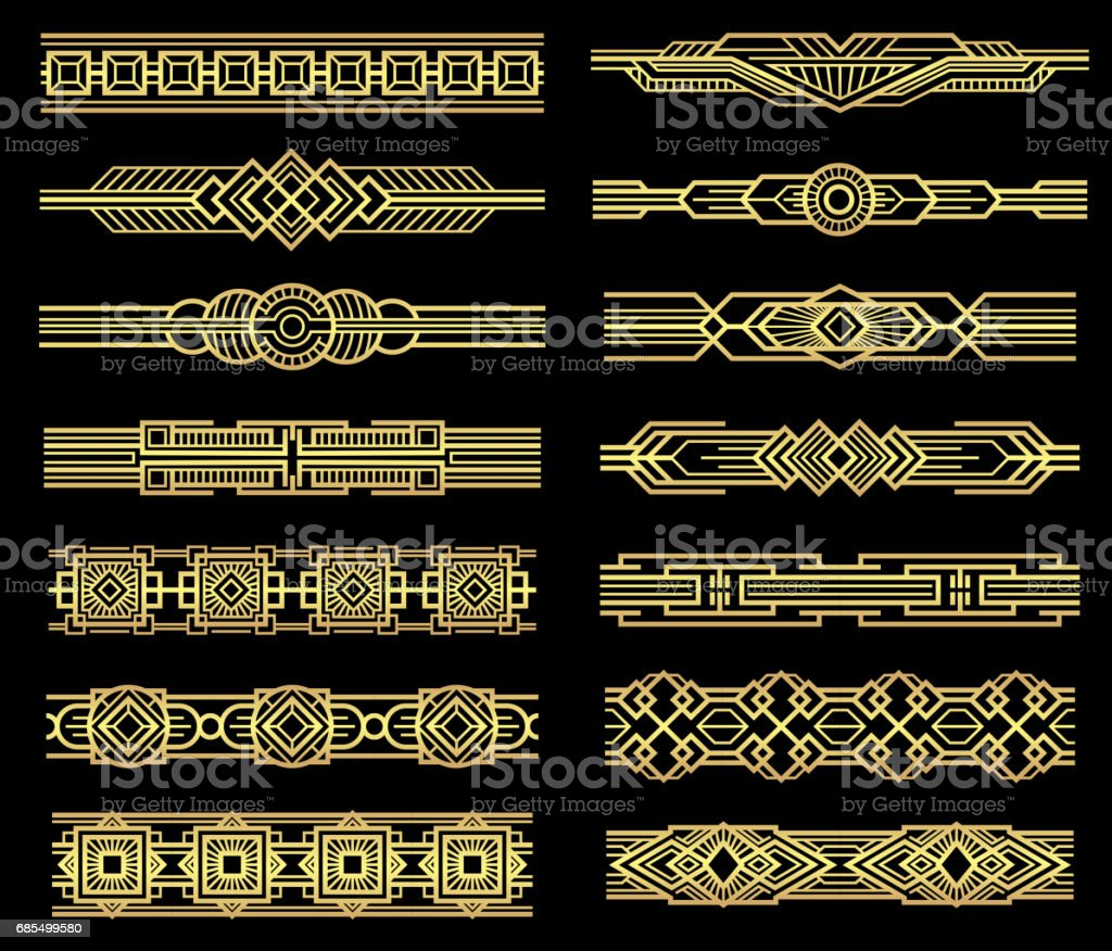 Art deco vector line borders set in 1920s graphic style vector art illustration