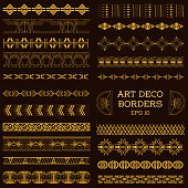 Art Deco Vintage Borders and Design Elements - hand drawn