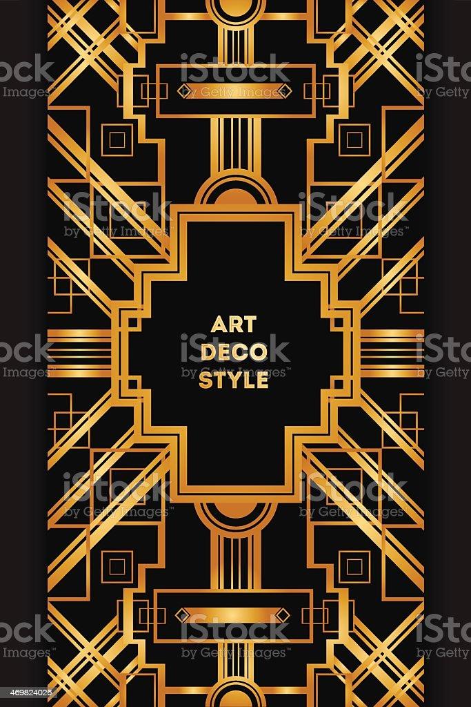 Art Deco vintage decorative frame. Retro card design template vector art illustration