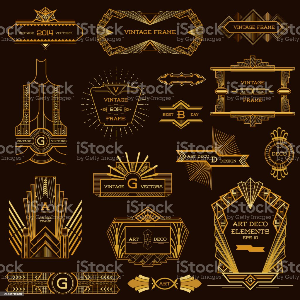 Art deco vintage frames and design elements in vector - Art deco design elements ...