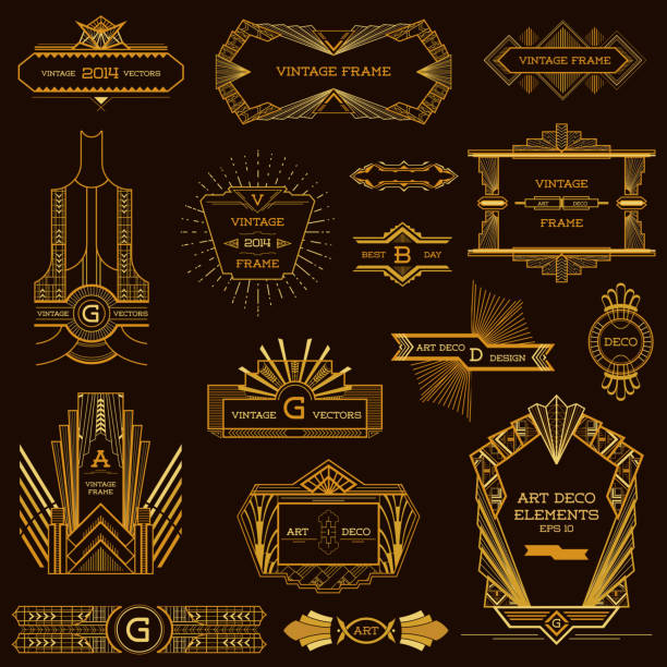art deco vintage frames and design elements - in vector - art deco stock illustrations, clip art, cartoons, & icons