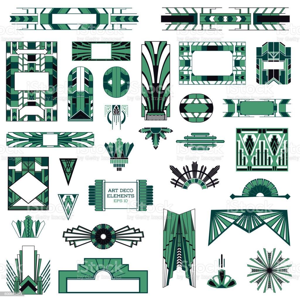Art Deco Vintage Bilderrahmen Und Designelementein Vektor Stock ...
