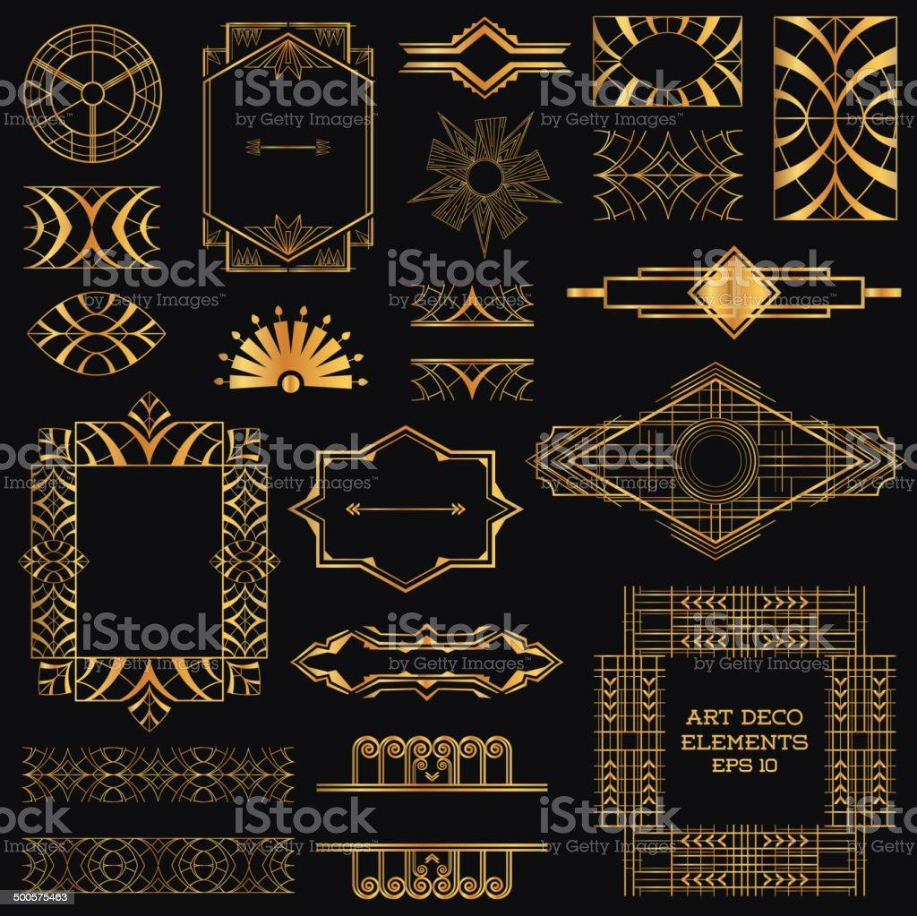 art deco vintage frames and design elements stock vector art more images of anniversary. Black Bedroom Furniture Sets. Home Design Ideas